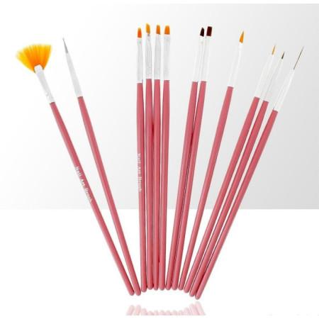 Sada štetcov pre nail art ružová 12 ks