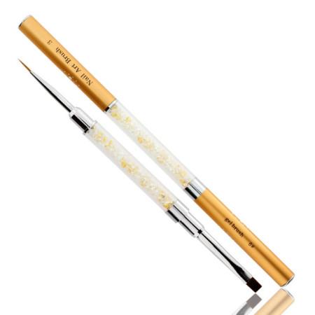 Obojstranný štetec na gél č.6+zdobiaci štetec 10 mm zlatý NechtovyRAJ.sk - Daj svojim nechtom všetko, čo potrebujú