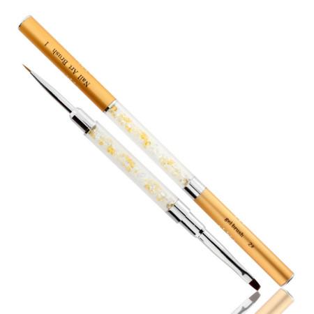 Obojstranný štetec na gél č.2+zdobiaci štetec 5 mm zlatý NechtovyRAJ.sk - Daj svojim nechtom všetko, čo potrebujú