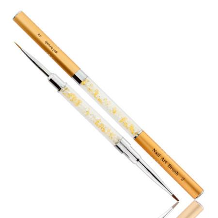 Obojstranný štetec na gél č.4+zdobiaci štetec 9 mm zlatý