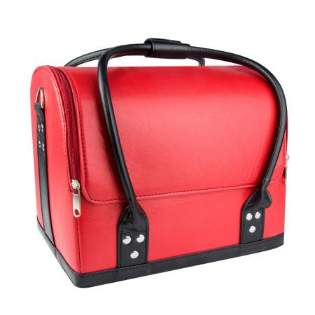 Luxusný kozmetický kufrík - červený s čiernou rúčkou 01 NechtovyRAJ.sk - Daj svojim nechtom všetko, čo potrebujú