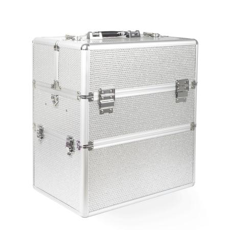 Dvojdielny kozmetický kufrík - strieborný zdobený NechtovyRAJ.sk - Daj svojim nechtom všetko, čo potrebujú