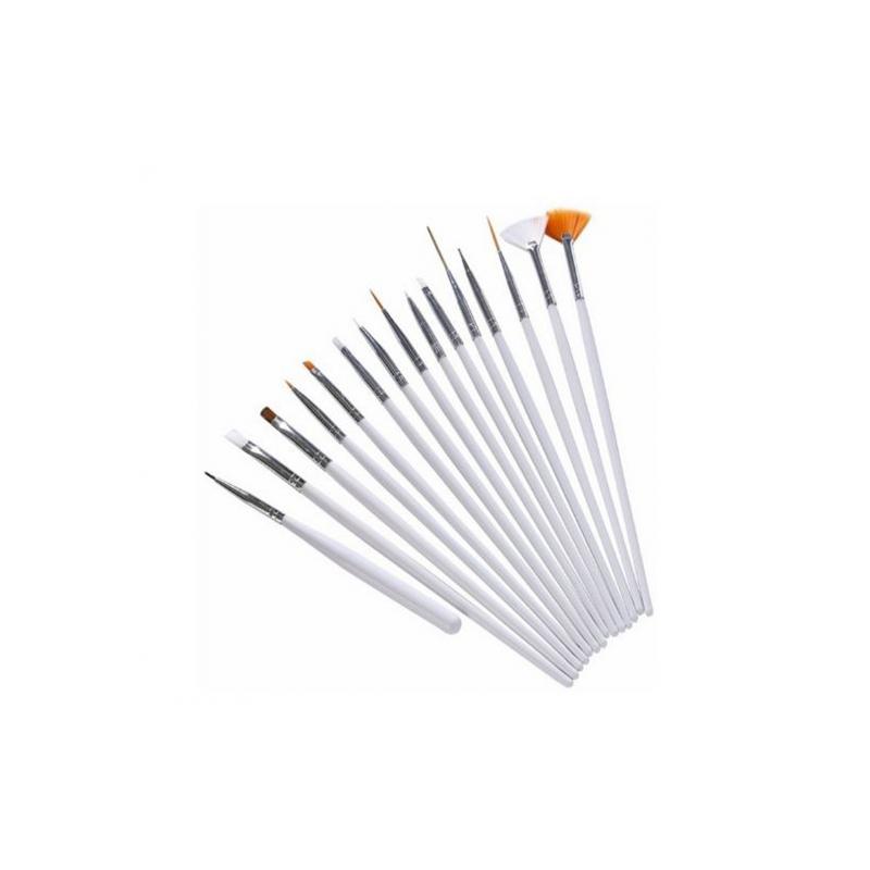 NechtovyRAJ- Sada štetcov pre nail art biela 15 ks ID2526