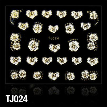 3D nálepky na nechty biele so zlatým lemovaním 024