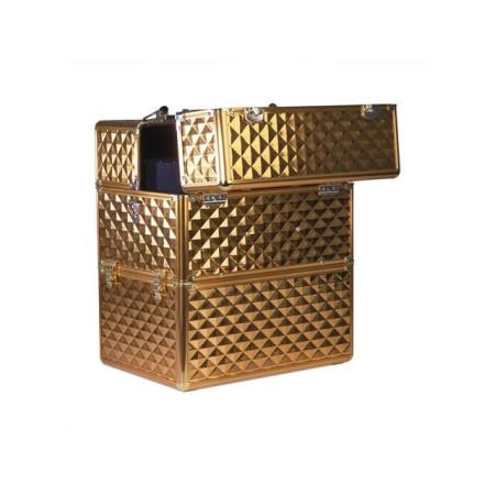 Dvojdielny kozmetický kufrík - 3D zlatý NechtovyRAJ.sk - Daj svojim nechtom všetko, čo potrebujú