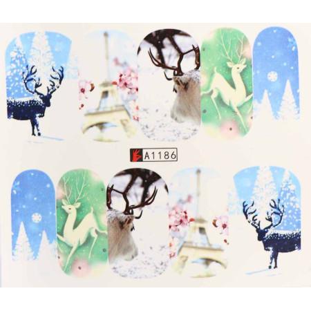 Vianočná vodolepka X-mas A1186 NechtovyRAJ.sk - Daj svojim nechtom všetko, čo potrebujú