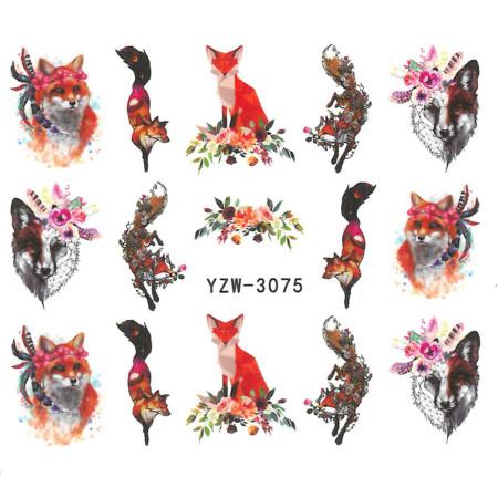 Vodonálepky na nechty motív líšky YZW-3075 NechtovyRAJ.sk - Daj svojim nechtom všetko, čo potrebujú