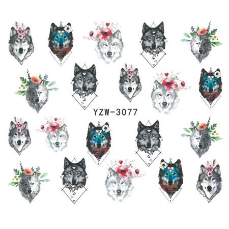 Vodonálepky na nechty motív vlka YZW-3077 NechtovyRAJ.sk - Daj svojim nechtom všetko, čo potrebujú