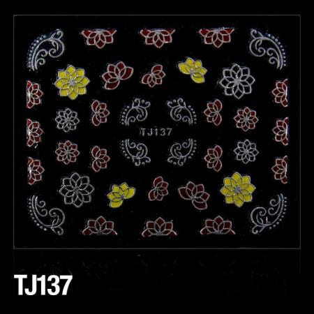 3D nálepky na nechty červeno - strieborné TJ137 NechtovyRAJ.sk - Daj svojim nechtom všetko, čo potrebujú