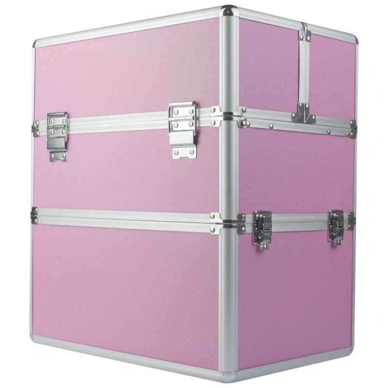 Dvojdielny kozmetický kufrík - ružový M-3N Ružová