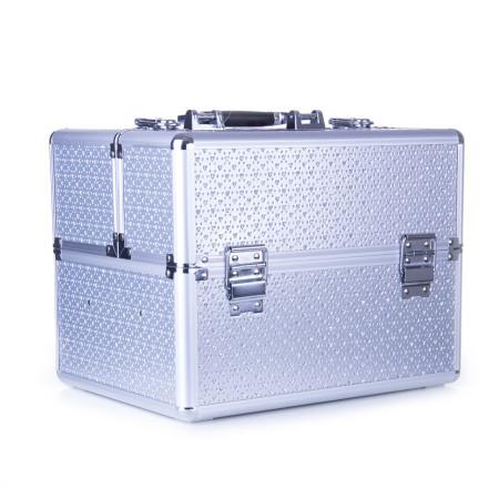 Kozmetický kufrík - strieborný s kamienkami v tvare srdca NechtovyRAJ.sk - Daj svojim nechtom všetko, čo potrebujú