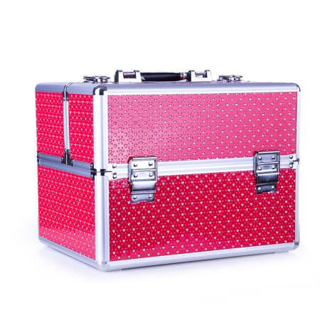 Kozmetický kufrík - červený s kamienkami v tvare srdca NechtovyRAJ.sk - Daj svojim nechtom všetko, čo potrebujú