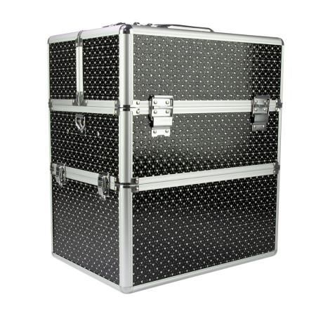 Dvojdielny kozmetický kufrík čierny so srdiečkami NechtovyRAJ.sk - Daj svojim nechtom všetko, čo potrebujú