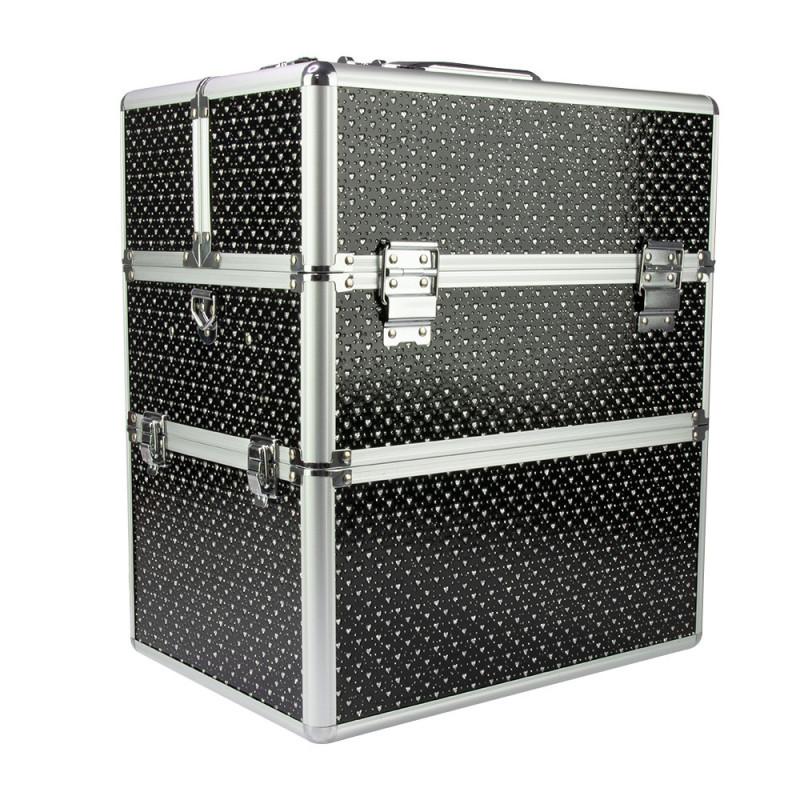 Dvojdielny kozmetický kufrík čierny so srdiečkami Čierna