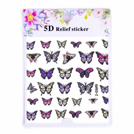 5D nálepka na nechty 3695 - motýle NechtovyRAJ.sk - Daj svojim nechtom všetko, čo potrebujú