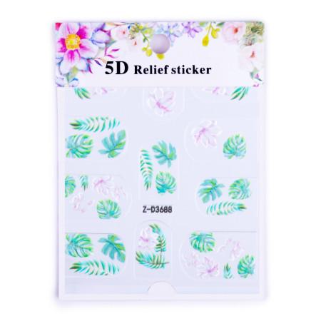 5D nálepka na nechty 3688 - listy a kvety NechtovyRAJ.sk - Daj svojim nechtom všetko, čo potrebujú