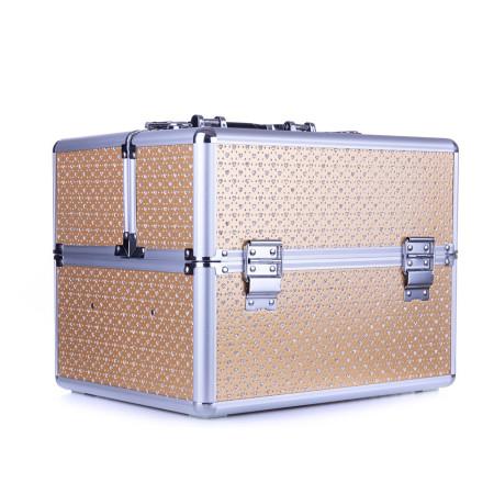 Kozmetický kufrík - zlatý s kamienkami v tvare srdca NechtovyRAJ.sk - Daj svojim nechtom všetko, čo potrebujú