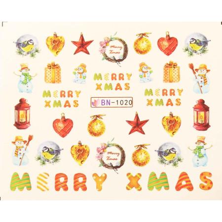 Vianočná vodolepka X-mas BN1020 NechtovyRAJ.sk - Daj svojim nechtom všetko, čo potrebujú
