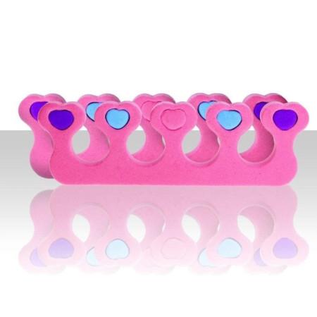 Rozdeľovač prstov ružový so srdiečkami - pár