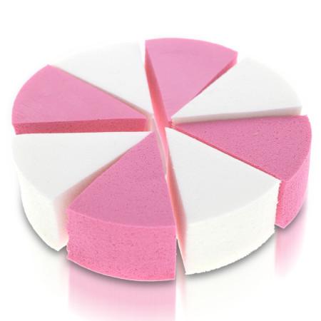 Kozmetické hubky 8 ks na ombré a make up bielo-ružové