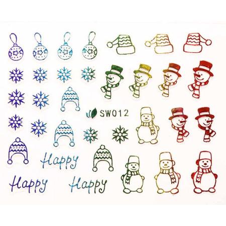 3D nálepky na nechty- vianočný motív SW012 NechtovyRAJ.sk - Daj svojim nechtom všetko, čo potrebujú