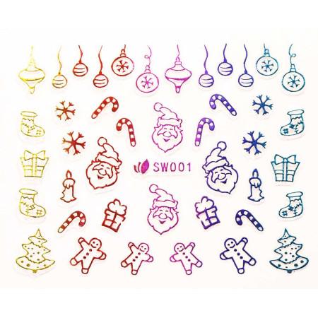 3D nálepky na nechty- vianočný motív SW001 NechtovyRAJ.sk - Daj svojim nechtom všetko, čo potrebujú