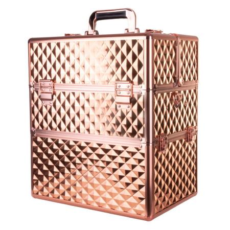 Dvojdielny kozmetický kufrík - 3D ružovo zlatý NechtovyRAJ.sk - Daj svojim nechtom všetko, čo potrebujú