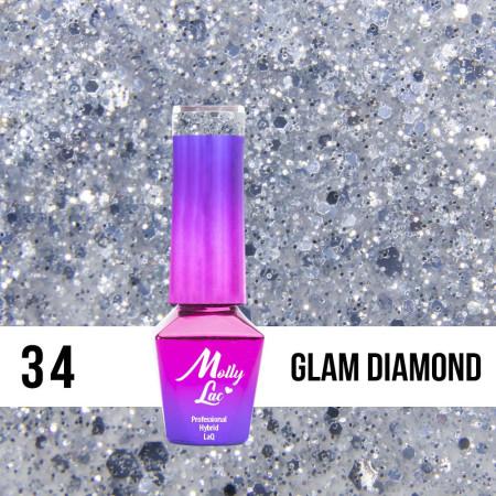 34. MOLLY LAC gél lak - Glam Diamond 5ML NechtovyRAJ.sk - Daj svojim nechtom všetko, čo potrebujú