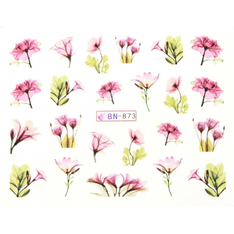 Vodonálepky s motívmi kvetov BN-873 NechtovyRAJ.sk - Daj svojim nechtom všetko, čo potrebujú