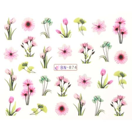 Vodonálepky s motívmi kvetov BN-874