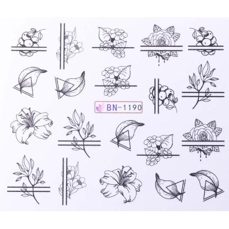 Vodonálepky s motívmi kvetov BN-1190