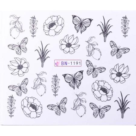 Vodonálepky s motívmi kvetov BN-1191