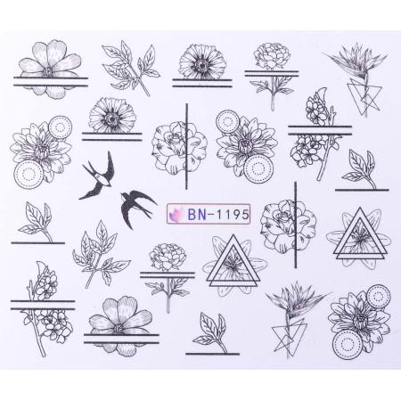 Vodonálepky s motívmi kvetov BN-1195