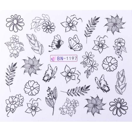 Vodonálepky s motívmi kvetov BN-1197