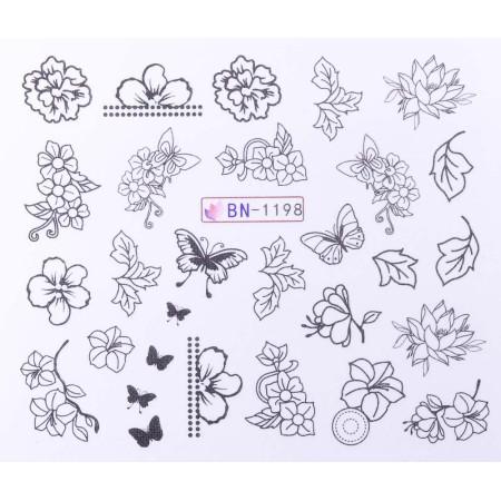 Vodonálepky s motívmi kvetov BN-1198 NechtovyRAJ.sk - Daj svojim nechtom všetko, čo potrebujú