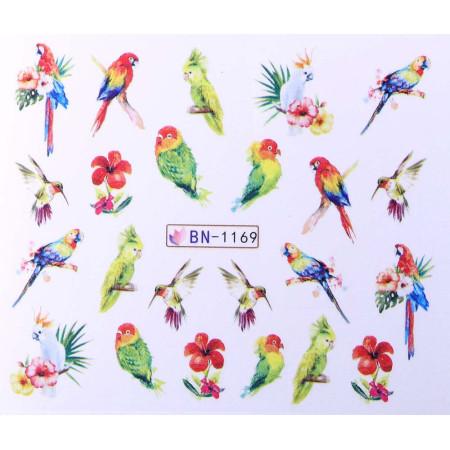 Vodonálepky s motívom papagájov BN-1169 NechtovyRAJ.sk - Daj svojim nechtom všetko, čo potrebujú