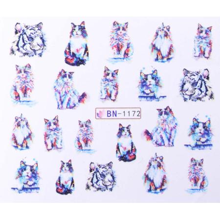 Vodonálepky s motívom mačiek BN-1172 NechtovyRAJ.sk - Daj svojim nechtom všetko, čo potrebujú
