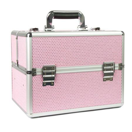 Kozmetický kufrík XL na 36W lampu - Svetlo ružový so zirkonmi NechtovyRAJ.sk - Daj svojim nechtom všetko, čo potrebujú