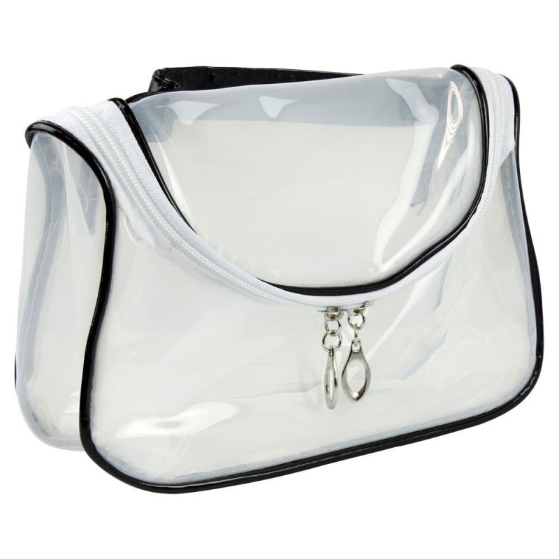 Kozmetická taštička transparentná - bielo čierna NechtovyRAJ.sk - Daj svojim nechtom všetko, čo potrebujú
