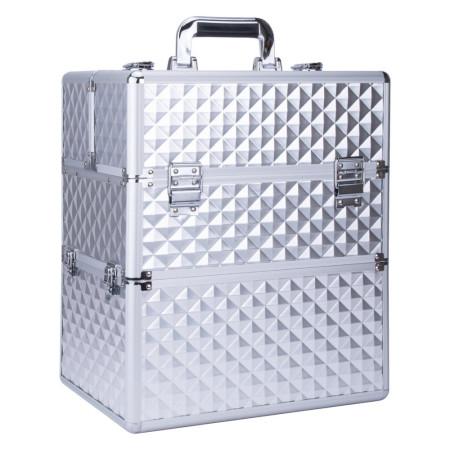 Dvojdielny kozmetický kufrík - 3D strieborný NechtovyRAJ.sk - Daj svojim nechtom všetko, čo potrebujú