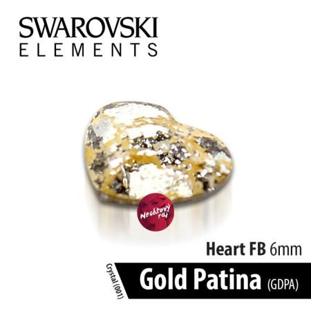 Swarovski srdce Gold Patina 6 mm