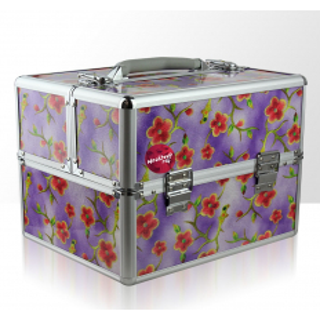 Kozmetický kufrík -  fialové kvety 2