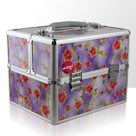 Akcia - Kozmetický kufrík - fialové kvety 2 NechtovyRAJ.sk - Daj svojim nechtom všetko, čo potrebujú