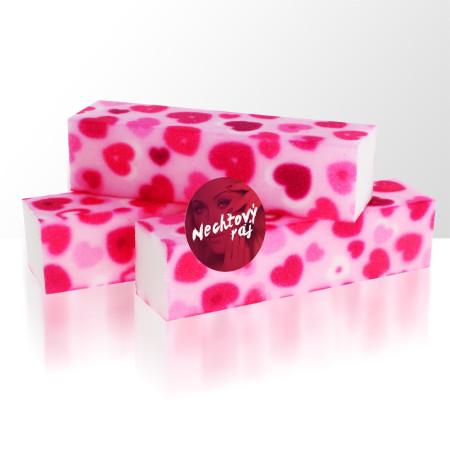 Brúsny blok - ružove srdcia 240/240