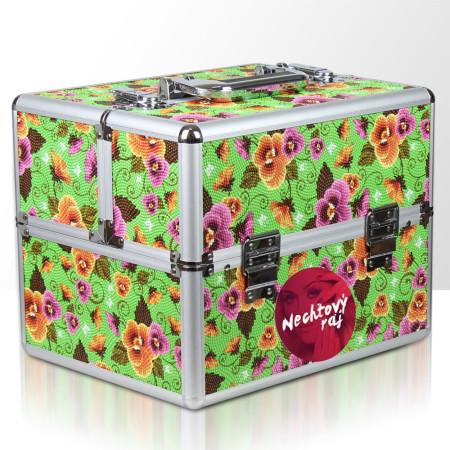 Kozmetický kufrík zelený s kvietkami - NechtovyRAJ.sk