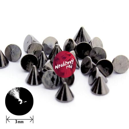 Rockové ozdoby čierne 3 mm