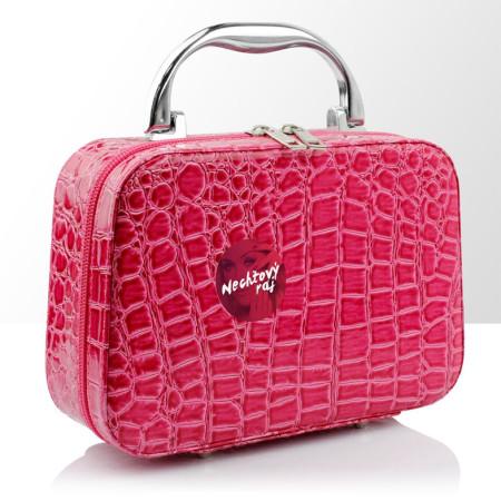 Kozmetická taštička - ružový krokodíl