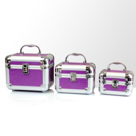 Zostava kozmetických kufríkov - fialové 3 ks