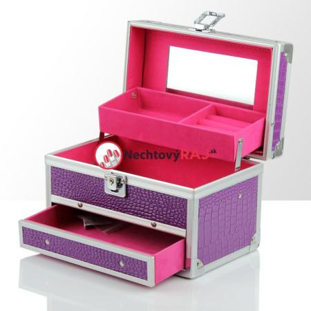 Šperkovnička - kufrík na šperky,bižutériu a drobnosti - fialová